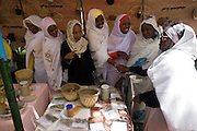 Ladies attending the first-ever international Conference on Womens' Challenge in Darfur, gather to admire local Darfuri handcrafts on display in a compound belonging to the Govenor of North Darfur in Al Fasher (also spelled, Al-Fashir) where the women from remote parts of Sudan gathered to discuss peace and political issues.
