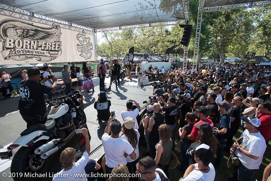 Awards and raffle picks generated a lot of excitement at the Born Free chopper show. Silverado, CA. USA. Sunday June 24, 2018. Photography ©2018 Michael Lichter.
