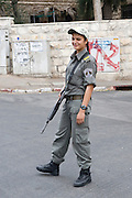 Israel, Jerusalem, Female border police soldier