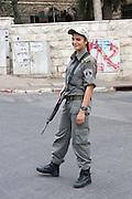 Israel, Jerusalem, Female border police soldier