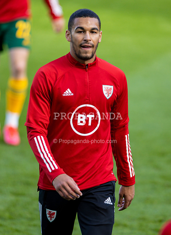 DUBLIN, REPUBLIC OF IRELAND - Sunday, October 11, 2020: Wales' Ben Cabango during the pre-match warm-up before the UEFA Nations League Group Stage League B Group 4 match between Republic of Ireland and Wales at the Aviva Stadium. The game ended in a 0-0 draw. (Pic by David Rawcliffe/Propaganda)