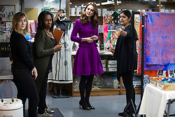 The Duchess of Cambridge in the Dye Department with Parveen Banga, Head of Dye Department during her visit to the Royal Opera House in London.