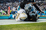 December 11, 2016: Carolina Panthers vs San Diego Chargers. Mario Addison tackles Chargers' QB Philip Rivers for a safety