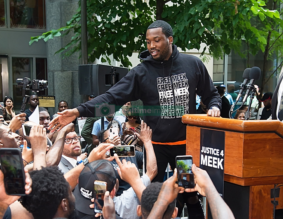Meek Mill attends 'Stand with Meek Mill' rally at Philadelphia Criminal Justice Center calling for justice reform and fair treatment for all!. 18 Jun 2018 Pictured: Meek Mill. Photo credit: MEGA TheMegaAgency.com +1 888 505 6342