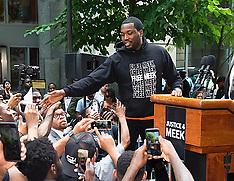 Meek Mill attends 'Stand with Meek Mill' rally in Philadelphia - 18 June 2018