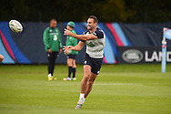 Dave Kearney of Ireland in action during the Ireland rugby team training at Newport High School in Newport , South Wales on Wed 7th October 2015.the team are preparing for their next RWC match against France this weekend.<br /> pic by  Andrew Orchard, Andrew Orchard sports photography.