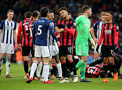 West Bromwich Albion's Claudio Yacob (left) and AFC Bournemouth's Joshua King (right) exchange words during the Premier League match at the Vitality Stadium, Bournemouth.