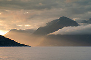 A dramatic sunrise over Hardanger Fjord, Vestlandet, Norway, Scandanavia, Europe