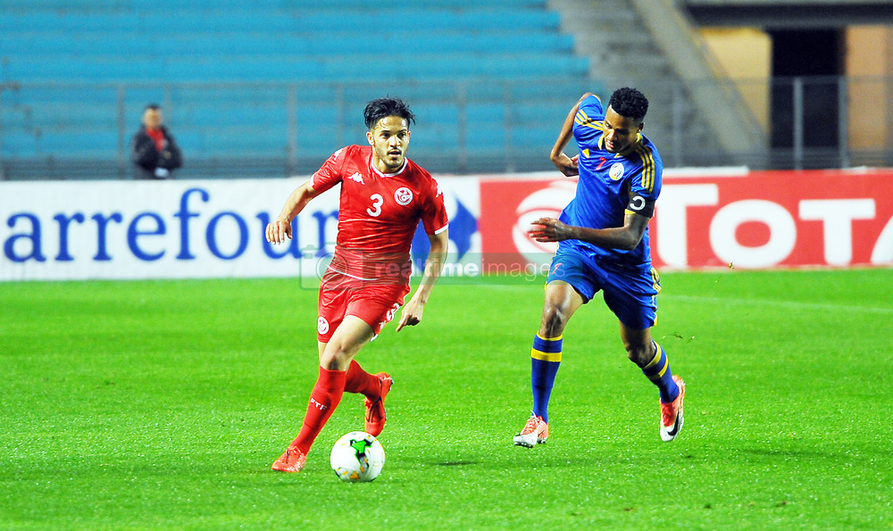 March 22, 2019 - Rades, Tunisia - Wajdi Kechrida(3) of Tunisia and Baden Horst Felix(7) during the Match Tunisia vs Eswatini at the Rades Olympic stadium in the last qualifying round of the 2019 African Nations Cup finals vs. Tun vs Eswatini 4/0. (Credit Image: © Chokri Mahjoub/ZUMA Wire)