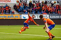 1. divisjon fotball 2018: Aalesund - Mjøndalen. Aalesunds Adam Örn Arnarson feirer 2-1 i førstedivisjonskampen i fotball mellom Aalesund og Mjøndalen på Color Line Stadion.
