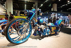 Asso Special Bike's custom Harley-Davidson bagger in the AMD World Championship of Custom Bike Building in the Intermot Customized hall during the Intermot International Motorcycle Fair. Cologne, Germany. Saturday October 6, 2018. Photography ©2018 Michael Lichter.