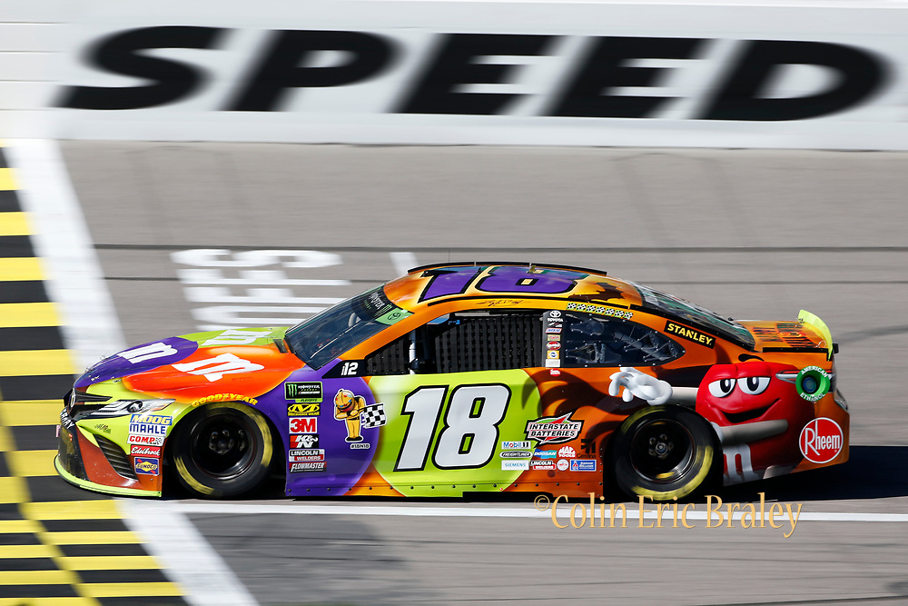 during a NASCAR Cup Series auto race practice at Kansas Speedway in Kansas City, Kan., Saturday, Oct 18, 2018. (AP Photo/Colin E. Braley)