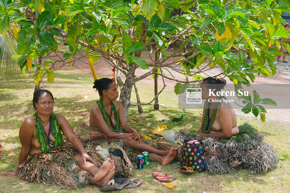 Yapese women in traditional clothing, Yap Island, Federated States of Micronesia