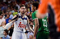 Real Madrid's Rudy Fernandez and Unicaja Malaga's Jeff Brooks during semi finals of playoff Liga Endesa match between Real Madrid and Unicaja Malaga at Wizink Center in Madrid, May 31, 2017. Spain.<br /> (ALTERPHOTOS/BorjaB.Hojas)