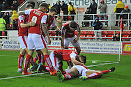 Rotherham celebrate going 3-0 up after Rotherham United midfielder Lee Frecklington scored  during the Sky Bet Championship match between Rotherham United and Bristol City at the New York Stadium, Rotherham, England on 28 November 2015. Photo by Ian Lyall.