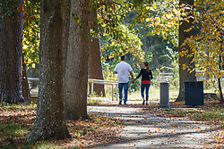 People walking on path through trees in autumn, Kiwanis Park, Lufkin, Texas, USA.