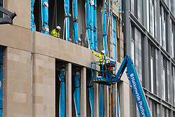 Edinburgh, Scotland, UK. 16 June, 2020. As shops open in England, Scottish shops and businesses remain closed, Streets are empty and pubs and shops are still closed with many boarded up. Bars might be allowed to open outside areas at end of week but currently they are only-permitted  to serve drinks to takeaway. Pictured; Construction work has started at new St James Centre re-development.  Iain Masterton/Alamy Live View.