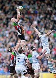 George Robson (Harlequins) rises high to win lineout ball - Photo mandatory by-line: Patrick Khachfe/JMP - Tel: Mobile: 07966 386802 29/03/2014 - SPORT - RUGBY UNION - The Twickenham Stoop, London - Harlequins v London Irish - Aviva Premiership.