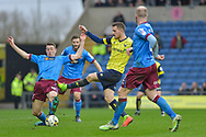 Oxford United Forward, Antonio Martinez (7) with a shot at goal during the EFL Sky Bet League 1 match between Oxford United and Scunthorpe United at the Kassam Stadium, Oxford, England on 18 March 2017. Photo by Adam Rivers.