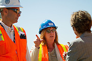Bay Area Rapid Transit (BART) general manager, Grace Crunican, updates Sen. Barbara Boxer (D-CA) on the progress of the Berryessa Extension Project in San Jose, Calif., on Aug. 21, 2012.  Photo by Stan Olszewski/SOSKIphoto.