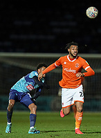 Blackpool's Joe Nuttall leaves Wycombe Wanderers' Jamie Mascoll behind as he chases a pass<br /> <br /> Photographer Lee Parker/CameraSport<br /> <br /> The EFL Sky Bet League One - Wycombe Wanderers v Blackpool - Tuesday 28th January 2020 - Adams Park - Wycombe<br /> <br /> World Copyright © 2020 CameraSport. All rights reserved. 43 Linden Ave. Countesthorpe. Leicester. England. LE8 5PG - Tel: +44 (0) 116 277 4147 - admin@camerasport.com - www.camerasport.com