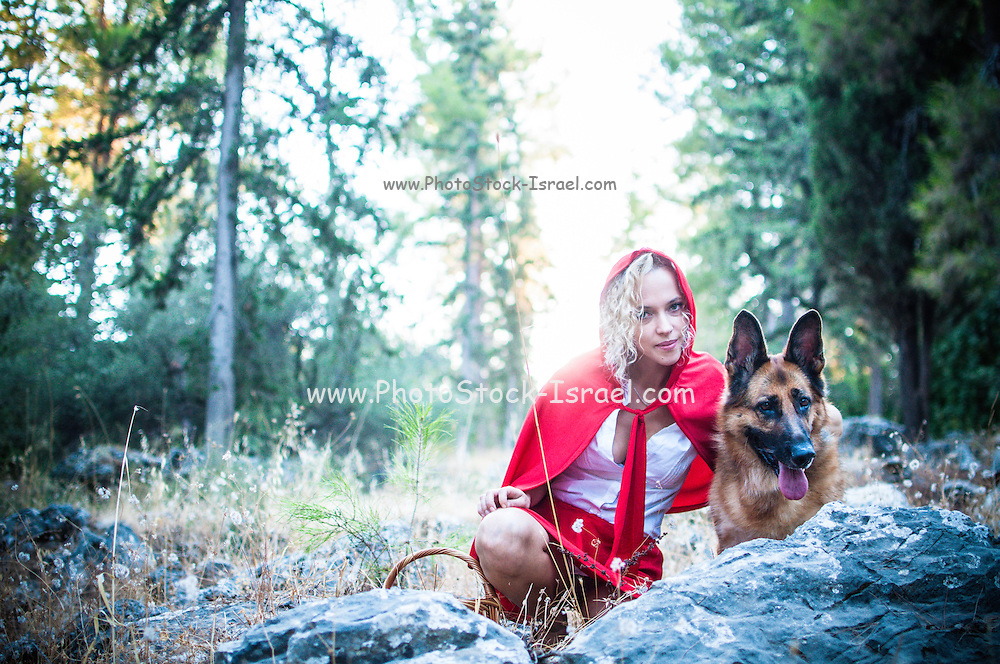 The Big Bad Wolf and Little red ridding hood in the forest
