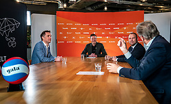 General manager Nevobo Guido Davio, presenter Etienne Verhoeff, Rudmer Heerema (Member of Parliament VVD, Sport portfolio) and Alderman Michel Kotteman (Borne) during the talk show of the Dutch volleyball association. The association wants to start a professionalization process with which they want to strengthen recreational sport in the coming years on March 8, 2021 in Utrecht