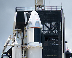 The Crew Dragon capsule sits on top of the SpaceX Falcon 9 rocket at Launch Complex 39-A at Kennedy Space Center, FL, USA, on Friday, May 29, 2020. The second launch attempt of the Demo-2 mission is scheduled for Saturday at 3:22pm. Photo by Joe Burbank/Orlando Sentinel/TNS/ABACAPRESS.COM