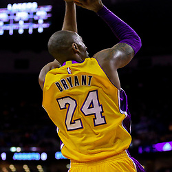 Apr 8, 2016; New Orleans, LA, USA; Los Angeles Lakers forward Kobe Bryant (24) shoots against the New Orleans Pelicans during the first quarter of a game at the Smoothie King Center. Mandatory Credit: Derick E. Hingle-USA TODAY Sports