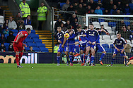 Cardiff city players in their defensive wall block a free kick taken by Jordan Rhodes of Blackburn Rovers (l). Skybet football league championship match, Cardiff city v Blackburn Rovers at the Cardiff city stadium in Cardiff, South Wales on Saturday 2nd Jan 2016.<br /> pic by Andrew Orchard, Andrew Orchard sports photography.