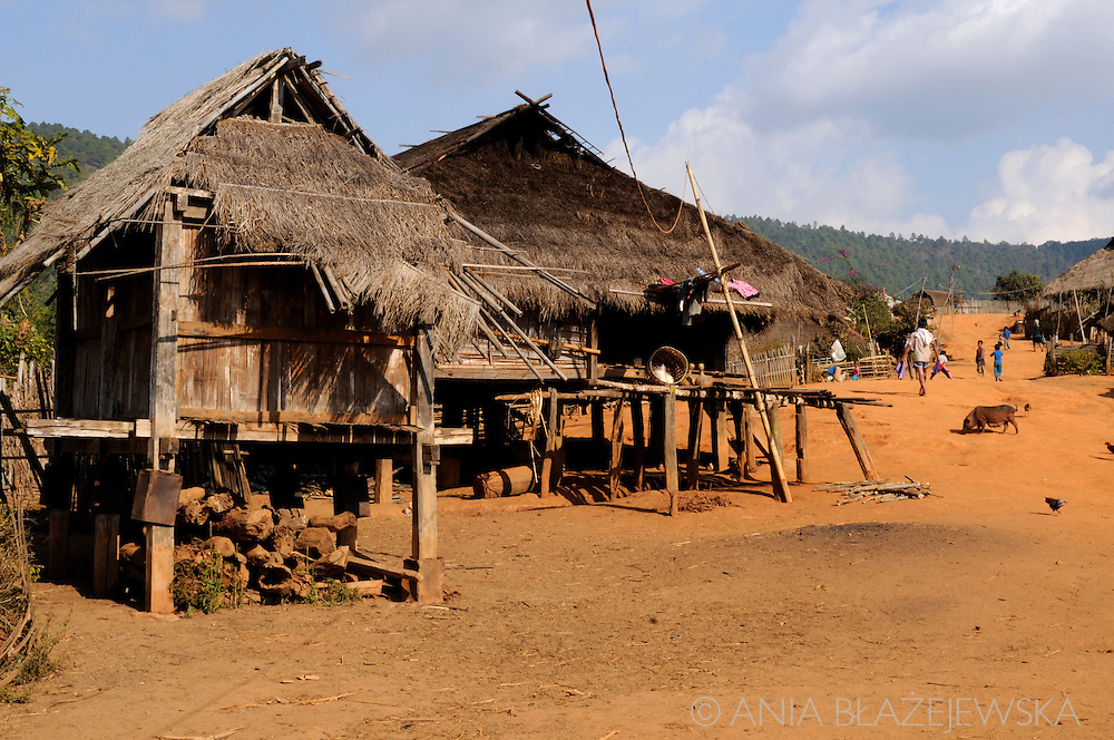 Burma/Myanmar,Golden Triangle. Typical Akha house.