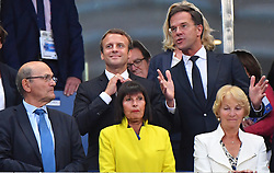 French President Emmanuel Macron, Prime Minister of Netherlands Mark Rutte during the France vs Netherlands 2018 FIFA World Cup Russia Qualifying Match at Stade de France stadium in Saint-Denis, near Paris, France on August 31, 2017. France won 4-0. Photo by Christian Liewig/ABACAPRESS.COM