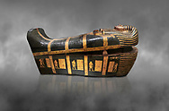 Acient Egyptian sacophagus of Kha - outer coffin from  tomb of Kha, Theban Tomb 8 , mid-18th dynasty (1550 to 1292 BC), Turin Egyptian Museum. Grey background .<br /> <br /> If you prefer to buy from our ALAMY PHOTO LIBRARY  Collection visit : https://www.alamy.com/portfolio/paul-williams-funkystock/ancient-egyptian-art-artefacts.html  . Type -   Turin   - into the LOWER SEARCH WITHIN GALLERY box. Refine search by adding background colour, subject etc<br /> <br /> Visit our ANCIENT WORLD PHOTO COLLECTIONS for more photos to download or buy as wall art prints https://funkystock.photoshelter.com/gallery-collection/Ancient-World-Art-Antiquities-Historic-Sites-Pictures-Images-of/C00006u26yqSkDOM