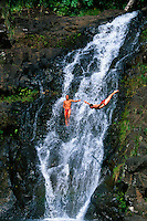 Acrobatic cliff diving, 45 foot Waimea Falls, Waimea Falls Park, Waimea Bay, North Shore, Oahu, Hawaii