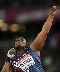 France's Jessica Cerival in the Women's Shot Put group A during day five of the 2017 IAAF World Championships at the London Stadium.