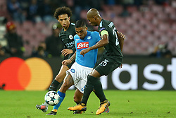 November 1, 2017 - Naples, Italy - Allan Loudeiro of Napoli in action between Leroy San of Manchester City and Fernandinho of Manchester City during the UEFA Champions League football match Napoli vs Manchester City on November 1, 2017 at the San Paolo stadium in Naples. Manchester City won 2-4. (Credit Image: © Matteo Ciambelli/NurPhoto via ZUMA Press)