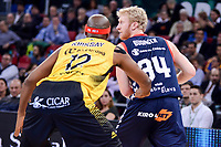 Baskonia's Chase Budinger and Iberostar Tenerife's Tariq Kirksay during Quarter Finals match of 2017 King's Cup at Fernando Buesa Arena in Vitoria, Spain. February 16, 2017. (ALTERPHOTOS/BorjaB.Hojas)