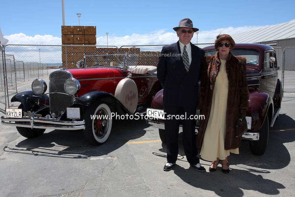 Napier, New Zealand Chrysler (left) and Chevrolet Vintage cars