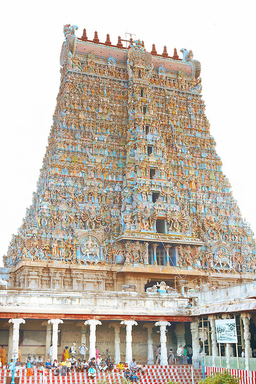 South tower of the Sri Minakshi temple. The enormous temple complex is dedicated to Shiva, known here as Sundareshvara and his consort Parvati or Meenakshi. The original temple was built by Kulasekara Pandya, but the entire credit for making the temple as splendid as it is today goes to the Nayaks. The Nayaks ruled Madurai from the 16th to the 18th century and left a majestic imprint of their rule in the Meenakshi - Sundareswarar Temple.