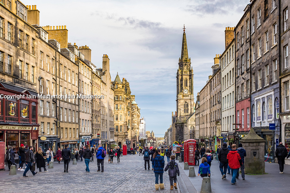 View along the Royal Mile in Old Town of Edinburgh, Scotland, United Kingdom.