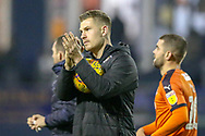 Luton Town forward James Collins (19) celebrates at full time with the match ball for his hattrick during the EFL Sky Bet League 1 match between Luton Town and Plymouth Argyle at Kenilworth Road, Luton, England on 17 November 2018.