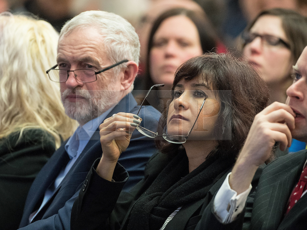 © Licensed to London News Pictures . 04/02/2017 . Liverpool, UK . JEREMY CORBYN and LAURA ALVAREZ in the audience . Labour Party leader Jeremy Corbyn and Shadow Chancellor John McDonnell launch the party's first regional economic conference at the Devonshire House Hotel . Photo credit : Joel Goodman/LNP