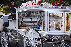 "© Licensed to London News Pictures. 13/02/2020. Sevenoaks, UK. The coffin of Joey Smith makes it's way to St John the Baptist church in Sevenoaks, Kent for he funeral of traveller brothers Billy and Joe Smith. The twin brothers, who were made famous by the television programme ""My Big Fat Gypsy Wedding"", were found hanged in woodland three days after Christmas. Photo credit: Ben Cawthra/LNP"