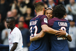 September 30, 2017 - Paris, France - Paris Saint-Germain's Belgian defender Thomas Meunier (L), Paris Saint-Germain's French forward Kylian Mbappe (C) and Paris Saint-Germain's Uruguayan forward Edinson Cavani celebrate after Meunier scored during the French L1 football match Paris Saint-Germain (PSG) vs Bordeaux (FCGB) on September 30, 2017 at the Parc des Princes stadium in Paris. (Credit Image: © Geoffroy Van Der Hasselt/NurPhoto via ZUMA Press)