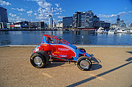Rapid Racing VIC #20 Wingless Sprint Race car..Shot on location in Lorimer St, Docklands, Victoria..2nd of October 2010..(C) Joel Strickland Photographics..Use information: This image is intended for Editorial use only (e.g. news or commentary, print or electronic). Any commercial or promotional use requires additional clearance.