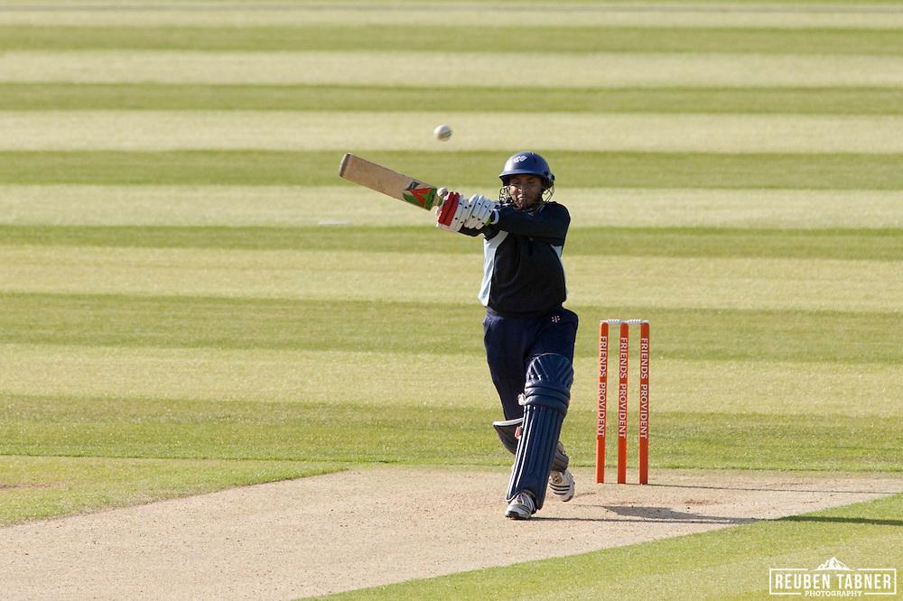 Adil Rashid hits a four (4) for Yorkshire Carnegie against Durham Dynamos at the Emirates Durham ICG.