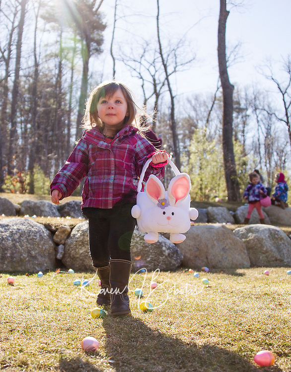 "Abigail looks around for the perfect eggs to fill her ""bunny"" basket during the Weirs Beach Community Center Easter egg hunt on Saturday morning.  (Karen Bobotas/for the Laconia Daily Sun)"