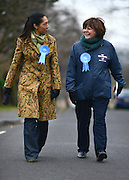 © Licensed to London News Pictures. 25/02/2013. Eastleigh, UK. Conservative Party Candidate Maria Hutchins (Blue top) campaigns with MP Helen Grant, Member of Parliament for Maidstone and The Weald in Kent, in Eastleigh today 25th February 2013. Photo credit : Stephen Simpson/LNP