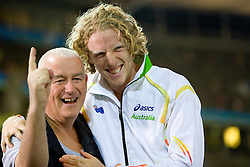 Maurice Stephen Plant and Steven Hooker of Australia after he won the gold medal in the men's Pole Vault Final during day eight of the 12th IAAF World Athletics Championships at the Olympic Stadium on August 22, 2009 in Berlin, Germany. (Photo by Vid Ponikvar / Sportida)