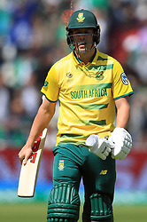 South Africa's AB de Villiers walks off the field after being dismissed for a duck during the ICC Champions Trophy, Group B match at Edgbaston, Birmingham.